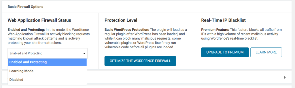 Wordfence firewall options