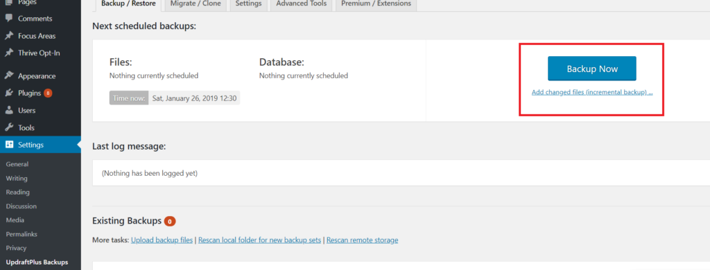 backup website using Updraft plus plugin