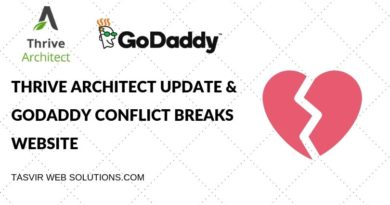 Thrive Architect Update & GoDaddy Conflict Breaks Website