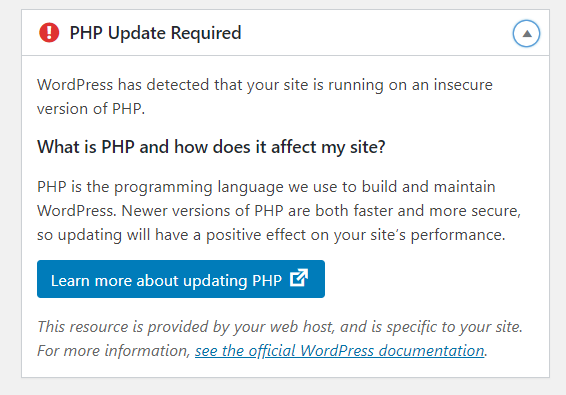 PHP update required error/message in wordpress