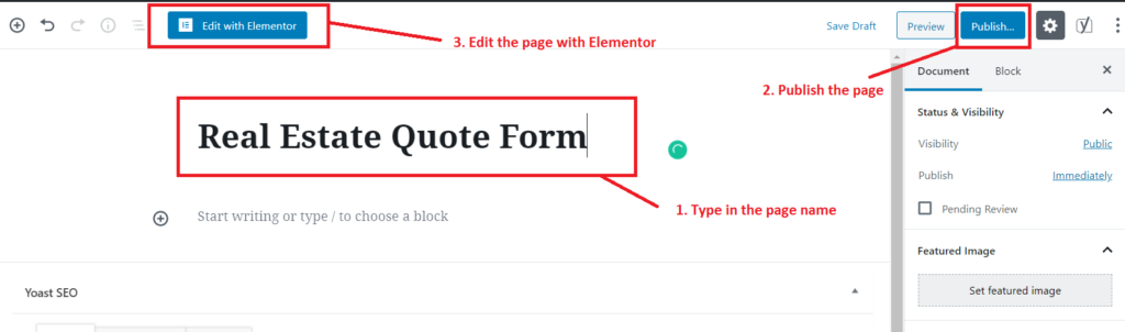 creating and editing a page with elementor