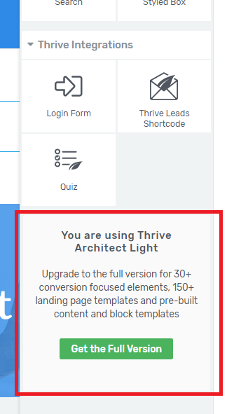 Thrive Architect light in Thrive Theme Builder missing elements
