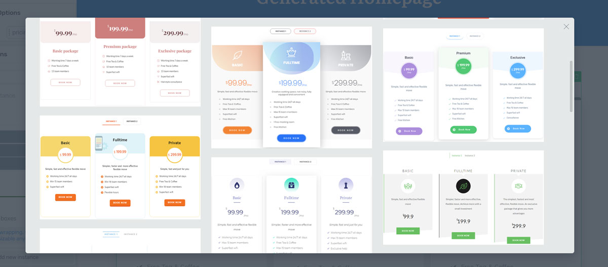 pricing table element in thrive architect